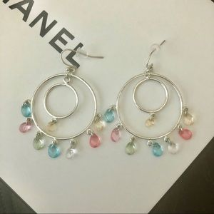 Pastel Rainbow Teardrops Hoop Earrings